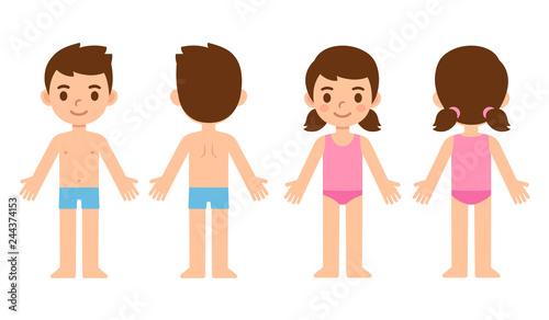 Fotografia Cartoon children front and back