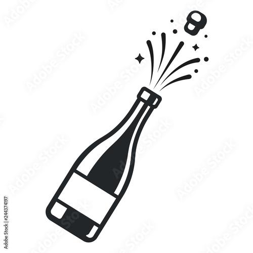 Champagne bottle pop Billede på lærred