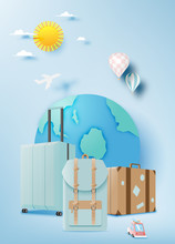 Various Bag And Luggage For Travel In Paper Art Style And Pastel Color