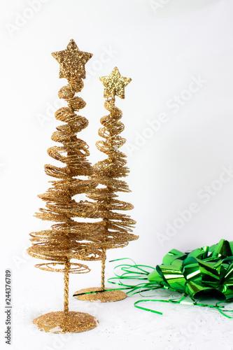 Mid Century Modern Christmas Tree.Vintage Golden Wire Mid Century Modern Christmas Tree