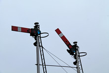 A Couple Of Traditional British Train Railway Signals.