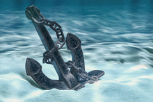 Anchor On Ocean Bottom Underwa...
