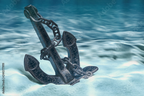 Fotografiet Anchor on ocean bottom underwater. 3D rendering
