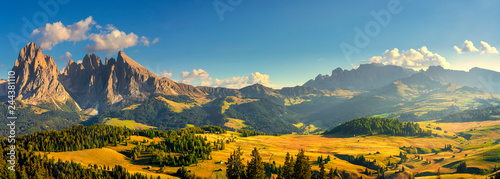 Poster Alpes Alpe di Siusi or Seiser Alm and Sassolungo mountain, Dolomites Alps, Italy.
