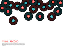 Vinyl Records Falling Vector M...