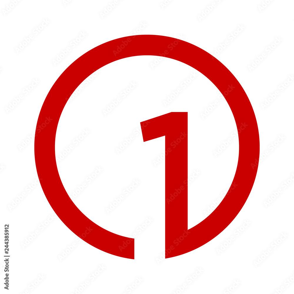 Fototapeta Number one 1 logo icon design template elements