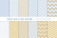Pastel Baby Blue, Gold And Whi...