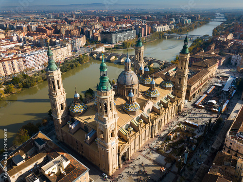 Aerial view of Zaragoza with Basilica