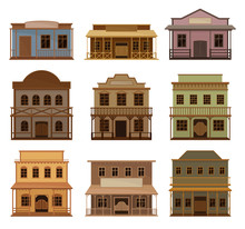Flat Vector Set Of Wooden West...