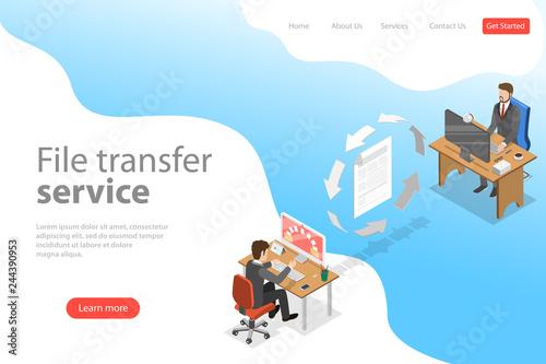 Obraz na plátně Isometric flat vector landing page template of file transfer service, social network, information exchange, data backup