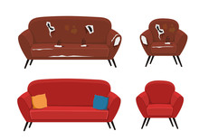 Old And New Sofa And Armchair Vector Illustration
