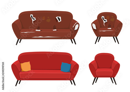 Fotomural Old and new sofa and armchair vector illustration