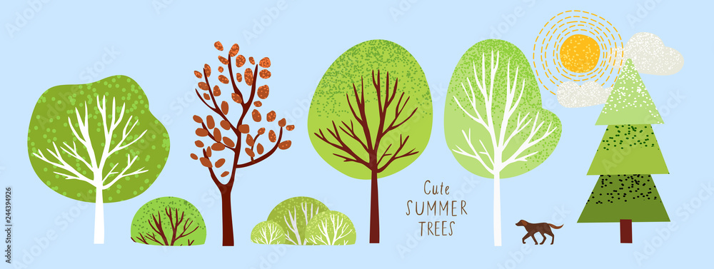 Fototapeta cute summer trees, vector isolated illustration of trees, leaves, fir trees, shrubs, sun, snow and clouds, elements of nature to create a landscape