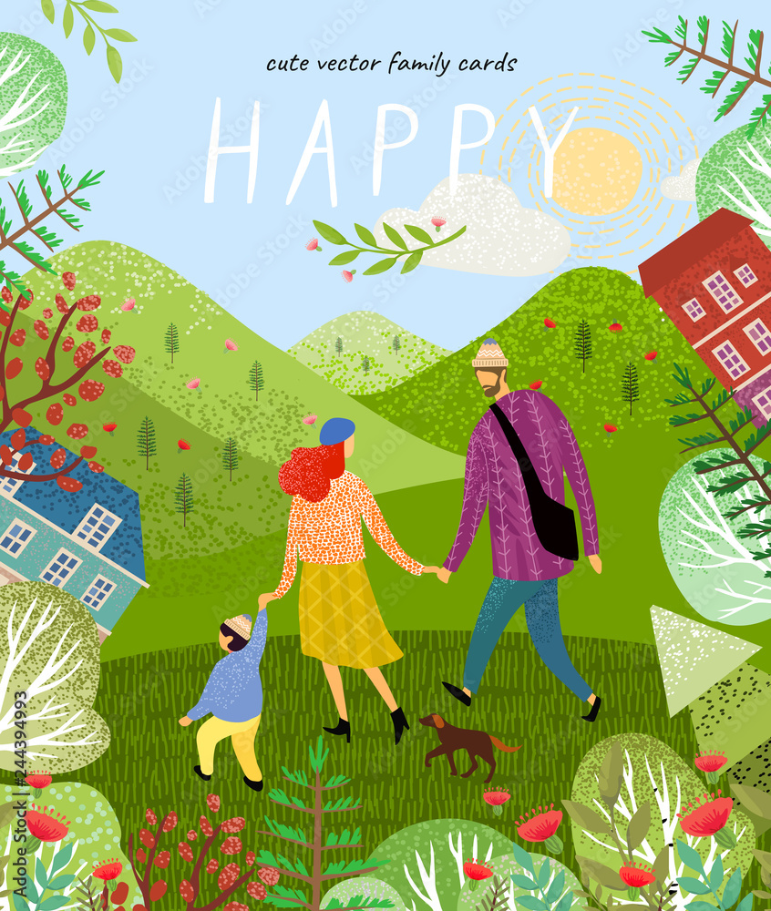 Fototapety, obrazy: happy family. Cute vector poster, card or cover with an illustration of a father, mother and newborn baby on a background of green nature, mountains and forest landscape with flowers