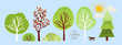 cute summer trees, vector isolated illustration of trees, leaves, fir trees, shrubs, sun, snow and clouds, elements of nature to create a landscape