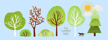 Cute Summer Trees, Vector Isol...
