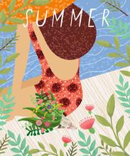 Hello Summer! Cute Vector Illu...