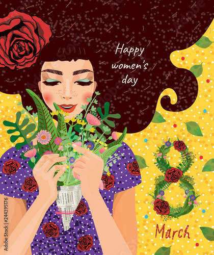 Plakaty do domu - mieszkania cute-card-for-the-holiday-of-women-s-day-on-march-8-vector-illustration-of-a-portrait-of-a-beautiful-girl-with-a-bouquet-of-flowers