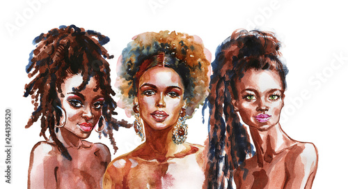 Watercolor beauty african women. Painting fashion illustration. Hand drawn portrait of pretty girls on white background