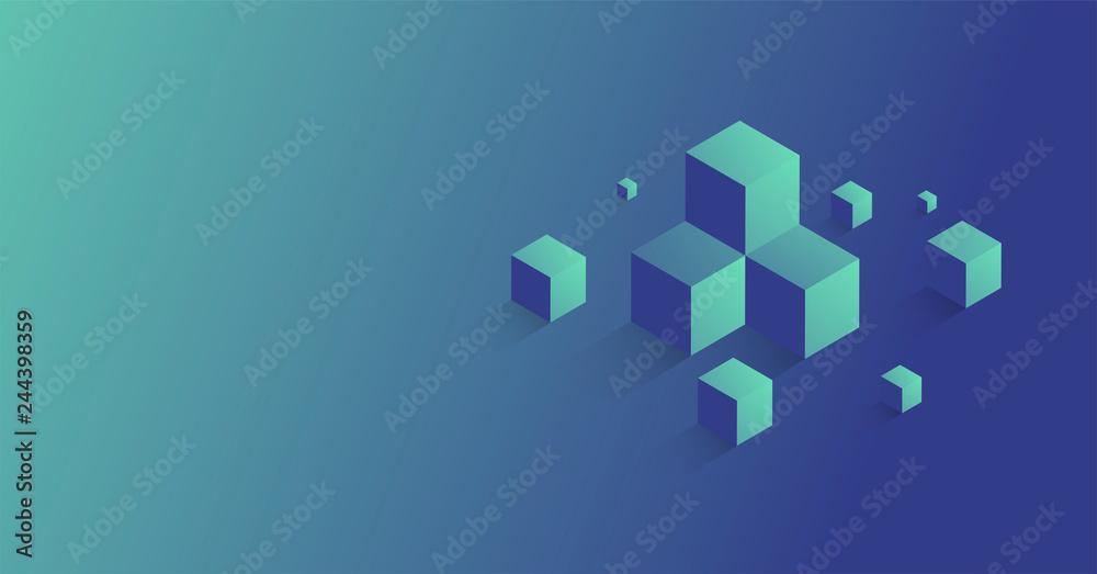 Fototapeta cubi, costruzioni, concetto, 3d, pixel