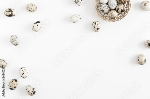 Cuadros en Lienzo Uncooked quail eggs on white background, protein diet, healthy food concept