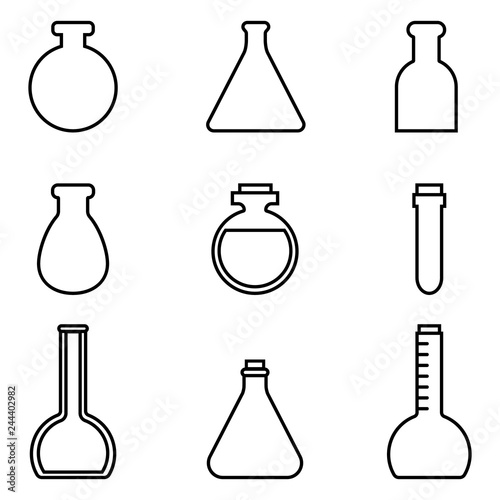 Magic potions set of magical tubes and bottles containers