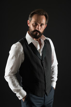 Formal Outfit. Elegant Outfit Mature Man. Take Good Care Of Your Silhouette. How To Dress For Your Age. Elegancy And Male Style. Classy Style. Man Bearded Guy Wear White Shirt And Classic Vest Outfit