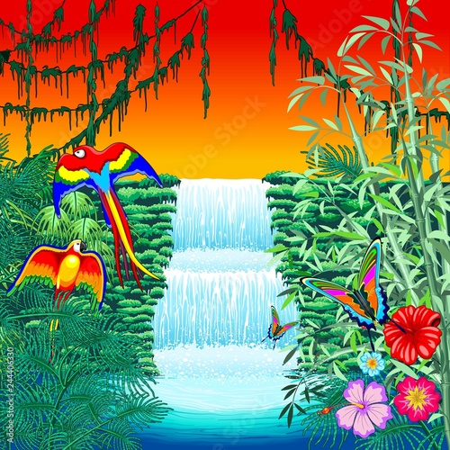 Spoed Foto op Canvas Draw Waterfall Macaws and Butterflies on Exotic Landscape in the Jungle Naif Style Vector Illustration