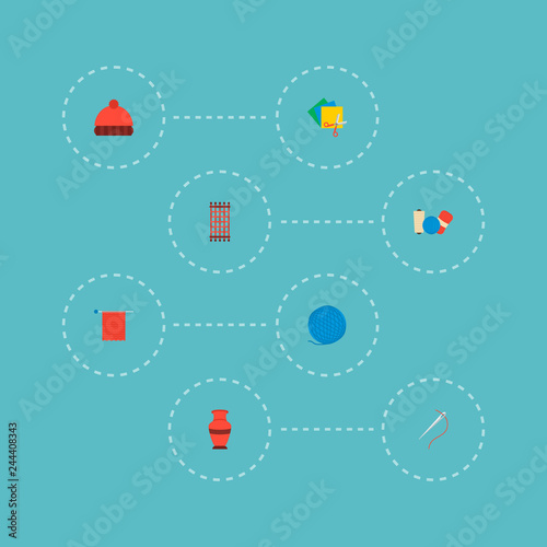 Set of handcraft icons flat style symbols with colorful papers, knit