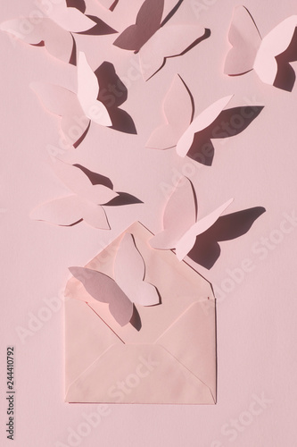 Obraz na plátně  Delicate monochrome springtime  greeting card  with paper butterflies fly out of the envelope