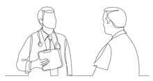 One Line Vector Drawing Of Hospital Doctor Consulting Male Patient