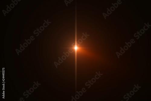 Fotografie, Obraz  gold warm color bright lens flare flashes leak for transitions on black backgrou