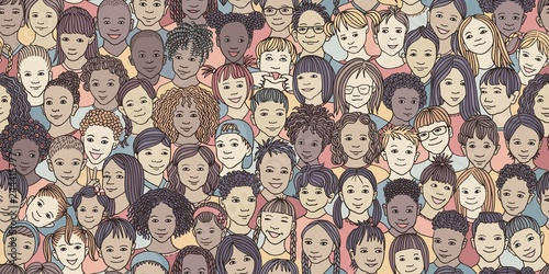 obraz PCV Diverse group of children - seamless banner of 70 different hand drawn kids' faces, kids and teens of diverse ethnicity