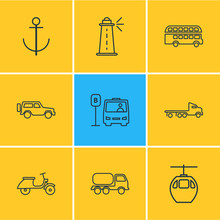 Vector Illustration Of 9 Transport Icons Line Style. Editable Set Of Cable Car, Double Decker Bus, Bus Station And Other Icon Elements.