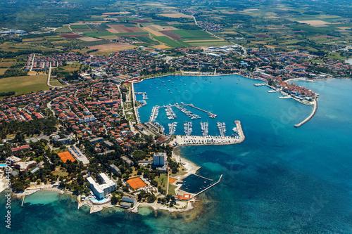Poster Cote Old coastal city Umag in Croatia, aerial view. Istria, Europe.