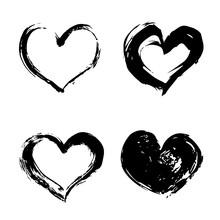Set Of Four Hand Drawn Black H...