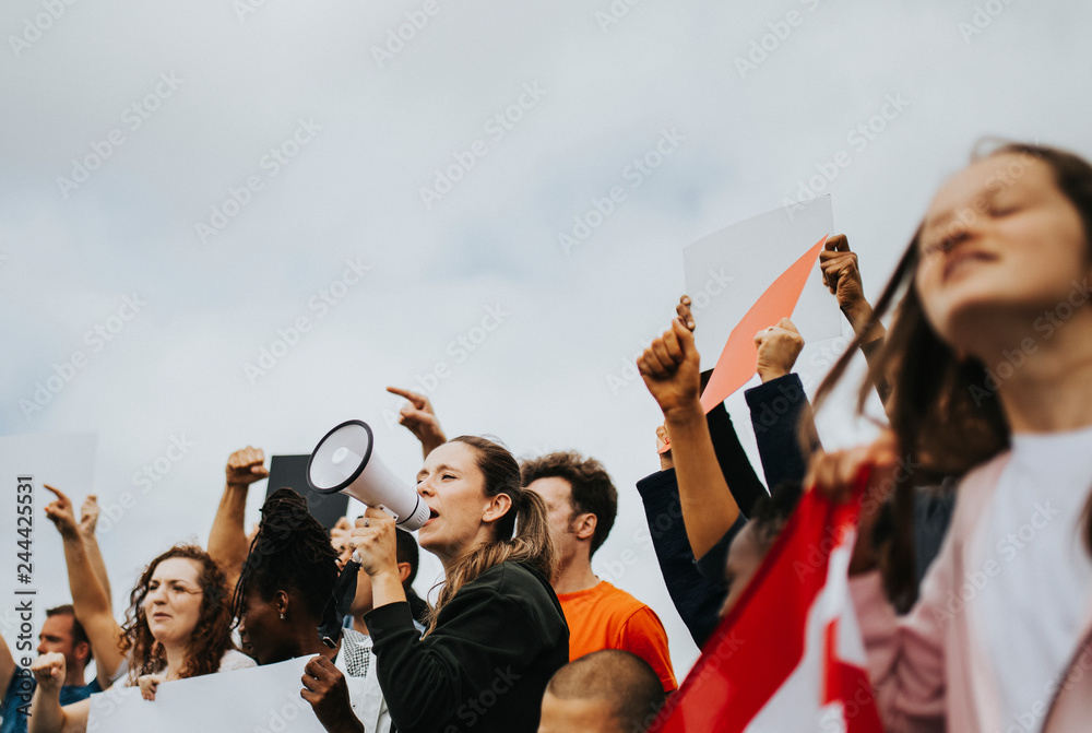 Fototapety, obrazy: Group of American activists is protesting