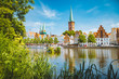 canvas print picture Historic city of Luebeck with Trave river in summer, Schleswig-Holstein, Germany
