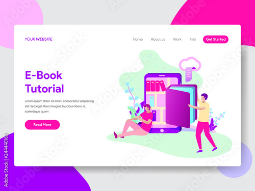 Landing Page Template Of E Book Tutorial Illustration Concept Modern Flat Design Concept Of Web Page Design For Website And Mobile Website Vector Illustration Buy This Stock Vector And Explore Similar Vectors At