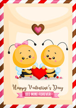 A Vector Of Cute Bee Card Hold...