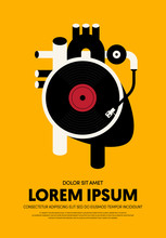 Music Poster Design Template Background Modern Vintage Retro Style