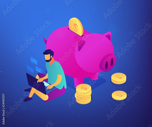 Fototapeta Freelancer with laptop working remotely online and piggy bank with golden coins. Online jobs, remote workplace jobs, internet earning concept. Ultraviolet neon vector isometric 3D illustration. obraz