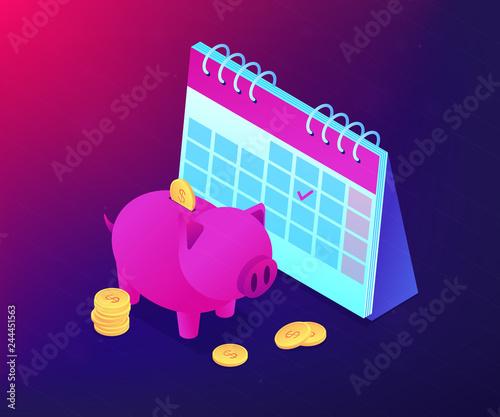 Fototapeta Saving golden coins with dollar sign in piggy bank and calendar with tick. Cash deposit, money-saving service, profitable investment concept. Ultraviolet neon vector isometric 3D illustration. obraz