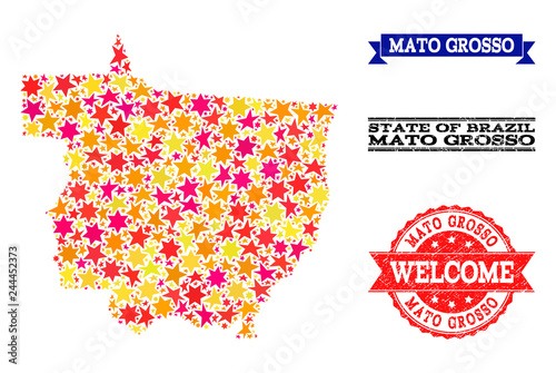Fotografija  Mosaic map of Mato Grosso State formed with colored flat stars, and grunge textured stamps, isolated on an white background
