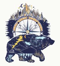 Bear And Mountains, T-shirt De...