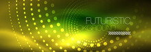 Yellow Neon Abstract Background With Dotted Circles