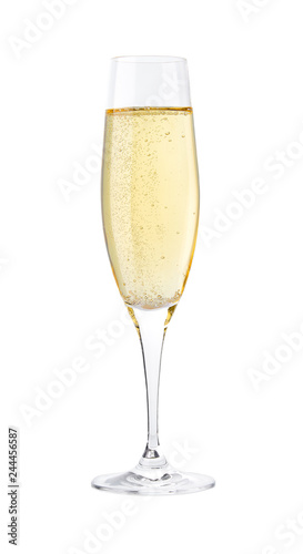 Pinturas sobre lienzo  Full glass of champagne isolated on a white background