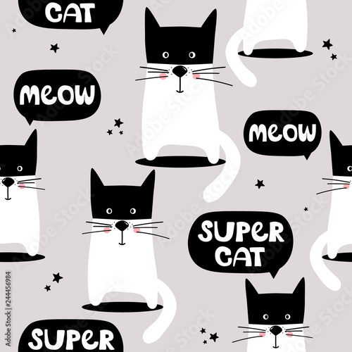 Cats, hand drawn backdrop. Colorful seamless pattern with animals, english text. Decorative cute wallpaper, good for printing. Overlapping background vector. Design illustration, meow