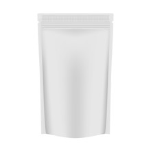 Blank White Vacuum Stand Up Pouch With Zipper - Zip Lock Bag, Template