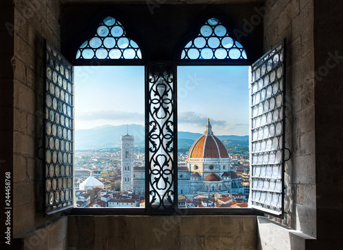 In de dag Centraal Europa View from the old window on Florence Duomo Basilica di Santa Maria del Fiore. Florence, Italy. Collage of the historical theme and the theme of travel.